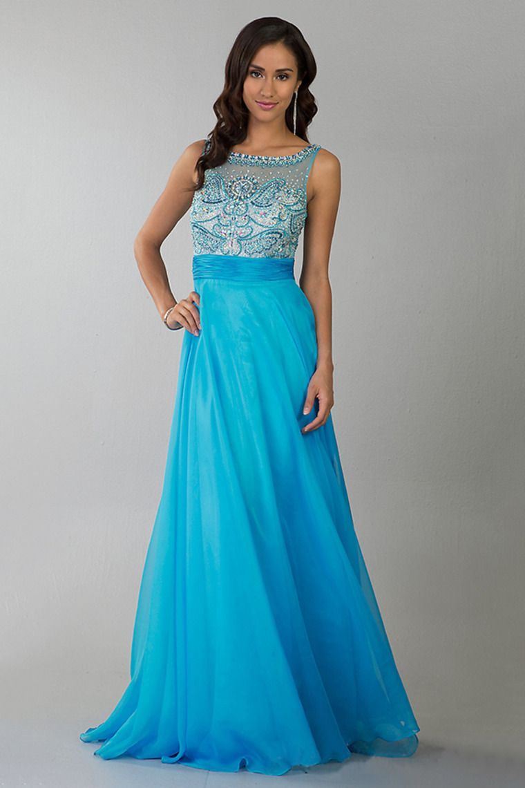 2014 Fabulous Scoop Neckline Beaded Tulle Bodice Prom Dress With ...