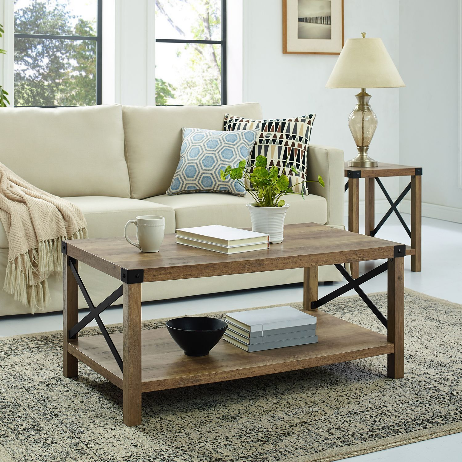 Null Rustic Oak Coffee Table Modern Farmhouse Coffee Table