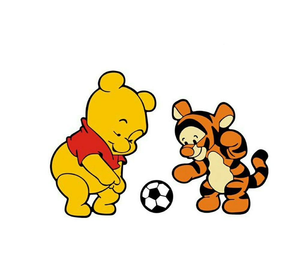Winnie The Pooh And Tiger Play Football Cute Winnie The Pooh Cute Cartoon Wallpapers Winnie The Pooh