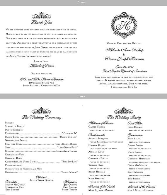 Booklet Programs With Satin Ribbon