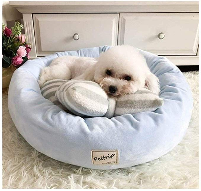 Amazon Com Huangyongchun Pet Nest Sofa Cushion Doggy Teddy Bedding Luxury Princess Kennels Bow Tie Pillow Round D In 2020 Dog Bed Mat Round Dog Bed Dog Bed Furniture