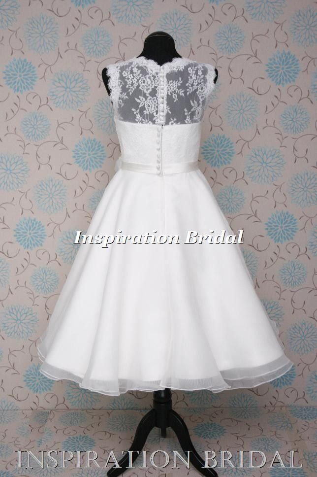 1569 50\'s 60\'s knee tea length short lace wedding dress vintage ...