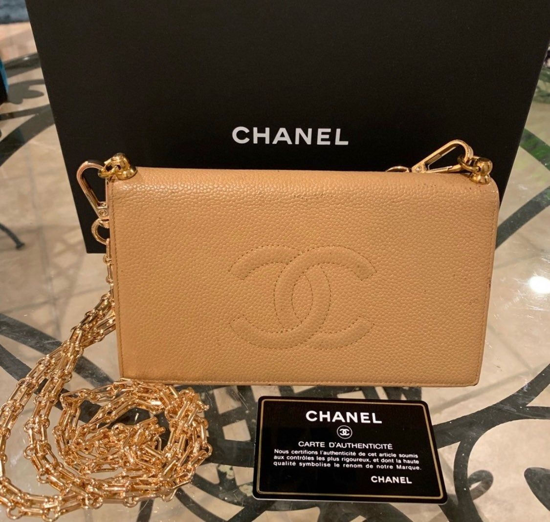 Chanel classic cc caviar beige wallet on chain with gold