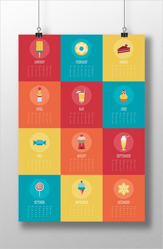 Calendar Design Brief : New year wall desk calendar designs for