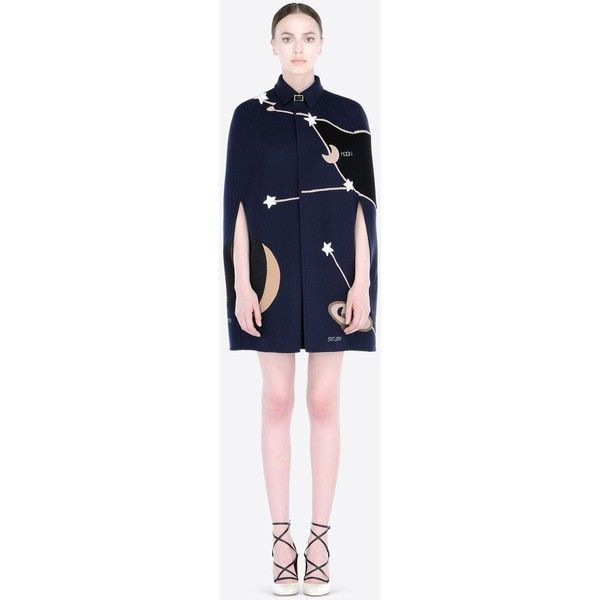 Valentino Cape in double broadcloth + cosmo embroidery (11,870 CAD) ❤ liked on Polyvore featuring outerwear, dark blue, cape coat, blue cape et blue cape coat