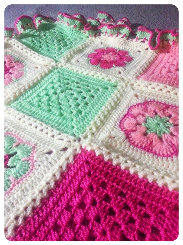 Patchwork Flower Blanket - using African Flower Squares (Custom made for a baby…