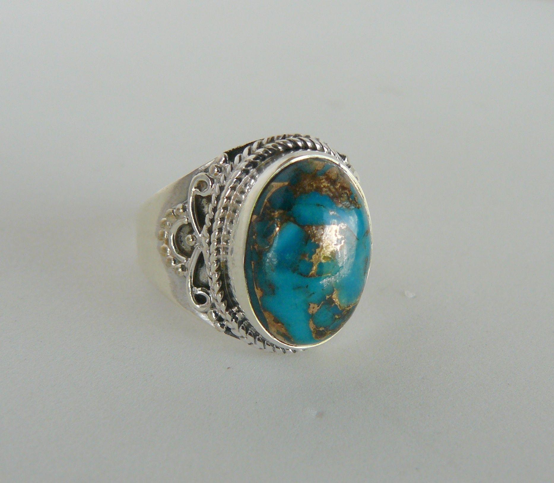 Anillos de Plata 925 de India con Piedra Blue Cooper