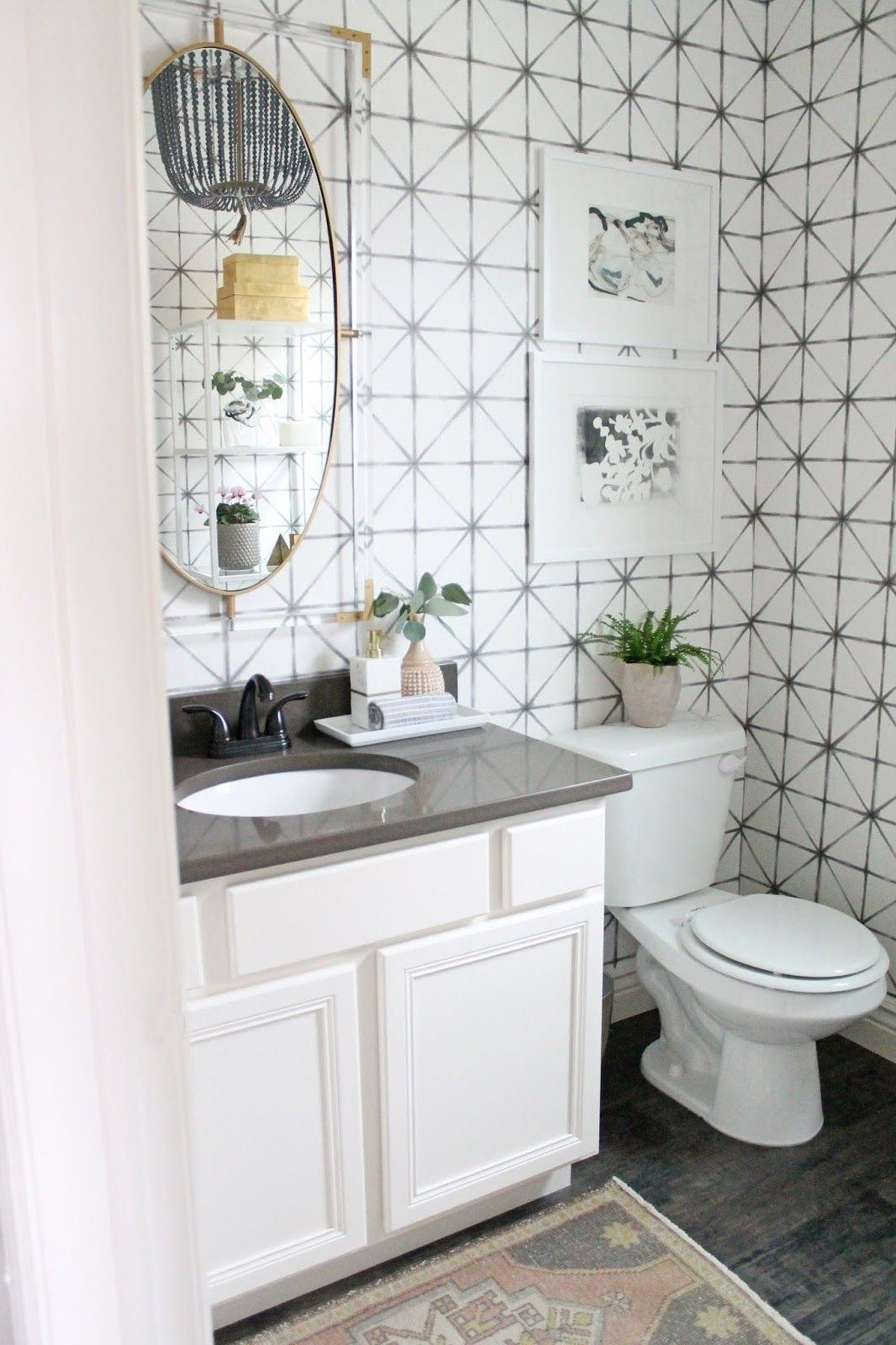 40 Stunning Powder Room Ideas To Decorate Your Dream Bathroom Tags Powder Room Ideas Moder Bathroom Wallpaper Bathroom Wallpaper Modern Modern Pedestal Sink