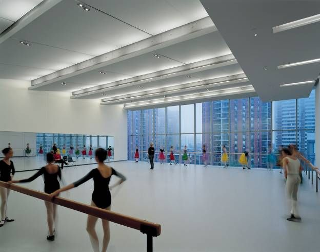 The most amazingly beautiful ballet studio at Canada's National Ballet School.  There are huge floor to ceiling windows overlooking the city!