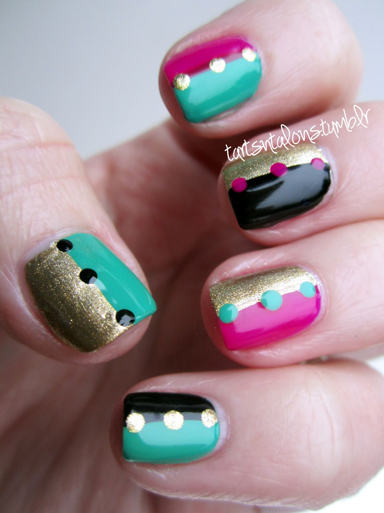 2 tone nails with accent dots: China Glaze \