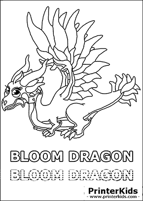 Dragonvale Bloom Dragon Adult Coloring Page