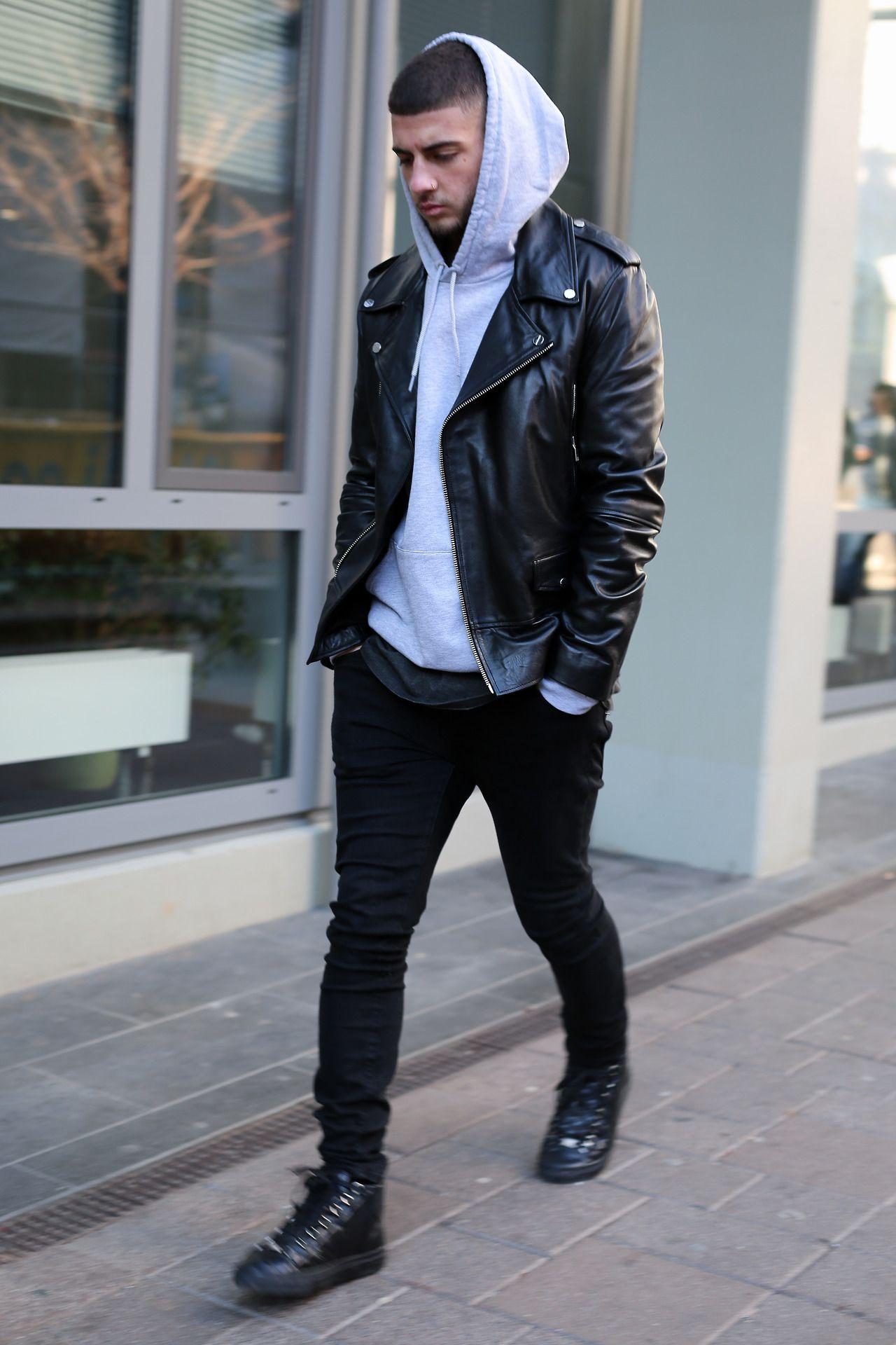 leauxnoir Hoodie outfit men, Leather jacket men, Mens