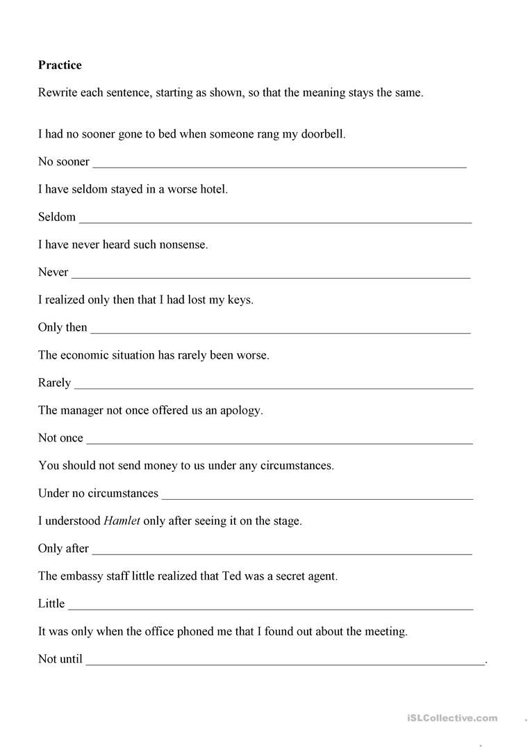 Inversion Inverted Sentence Inversions English Teaching Materials
