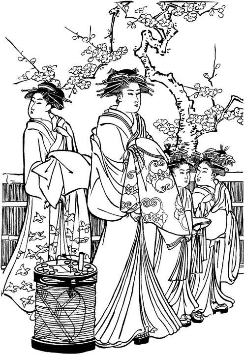 Coloring Pages Japanese Holidays gyshas Pinterest