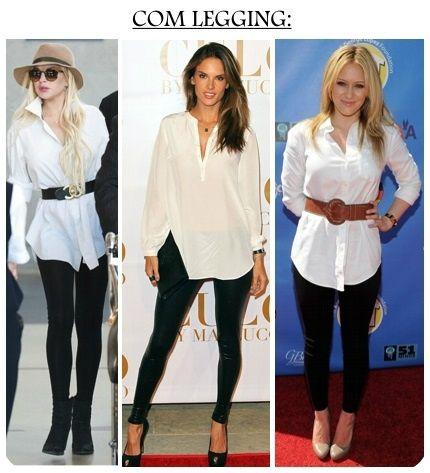 camisa branca com skinny ou legging preta.