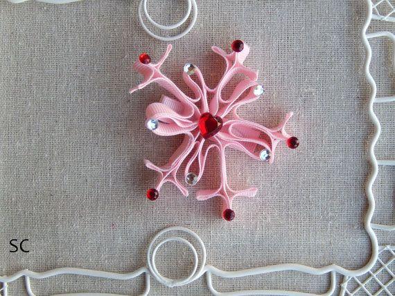 Snowflake Hair Bow Christmas Hair Bow Clip by SanteenCreations on Etsy, $7.00
