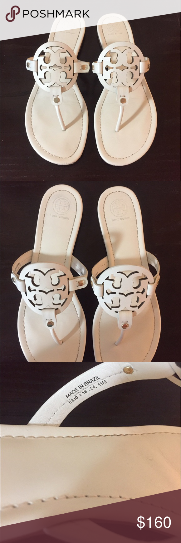026e1f921964 Tory Burch Miller Sandal Bleach Gently used bleach Miller sandals. The color  is an offwhite. Not a bright white. Size 11M Tory Burch Shoes Sandals