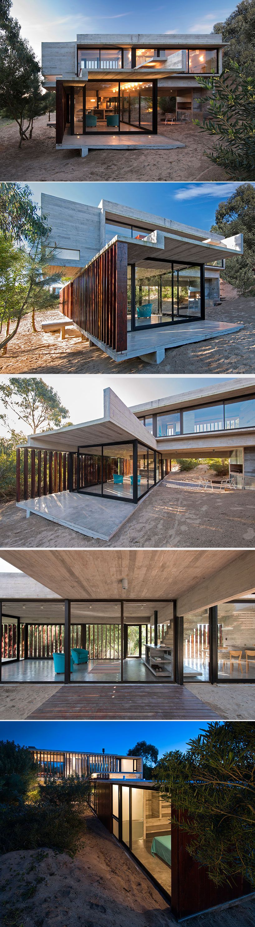 Could be built with shipping containers, luciano kruk forms MR house of folded concrete and wooden louvers