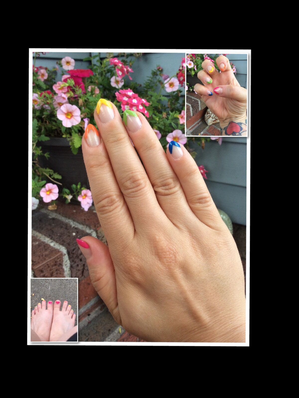 Rainbow French tips v-shaped pointed French tips short stiletto nails short almond shaped nails pride nails matching toes