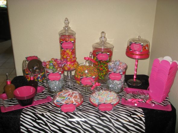 Hot Pink And Black Wedding Ideas Pink Zebra Print Candy Buffet