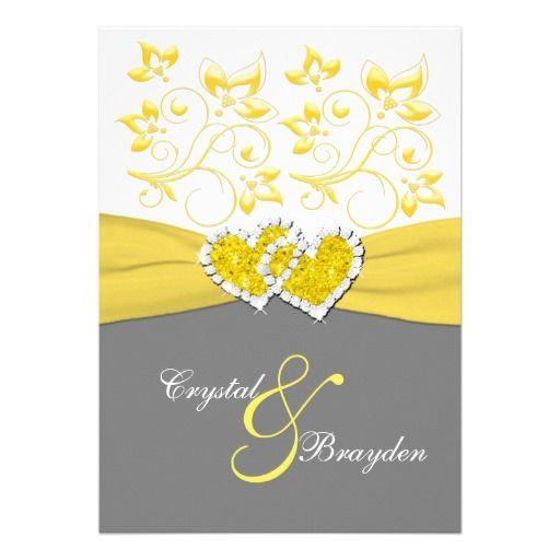 Yellow Gray White Joined Hearts Wedding Invite Zazzle Com Heart Wedding Invitations Yellow Wedding Theme Grey Wedding Invitations