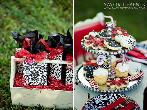 Red Black Damask Birthday Party Gradution Black Party Damask