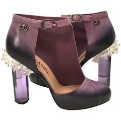 Rare Chanel Runway Boots - Purple and Black - Lucite Heels - Size 38 10