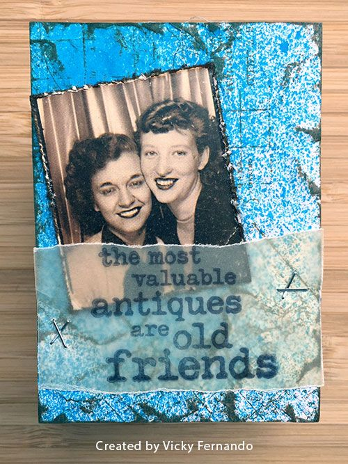 ATC by Vicky Fernando using Darkroom Door Photobooth image and quote from Vintage Automobiles Stamp Set