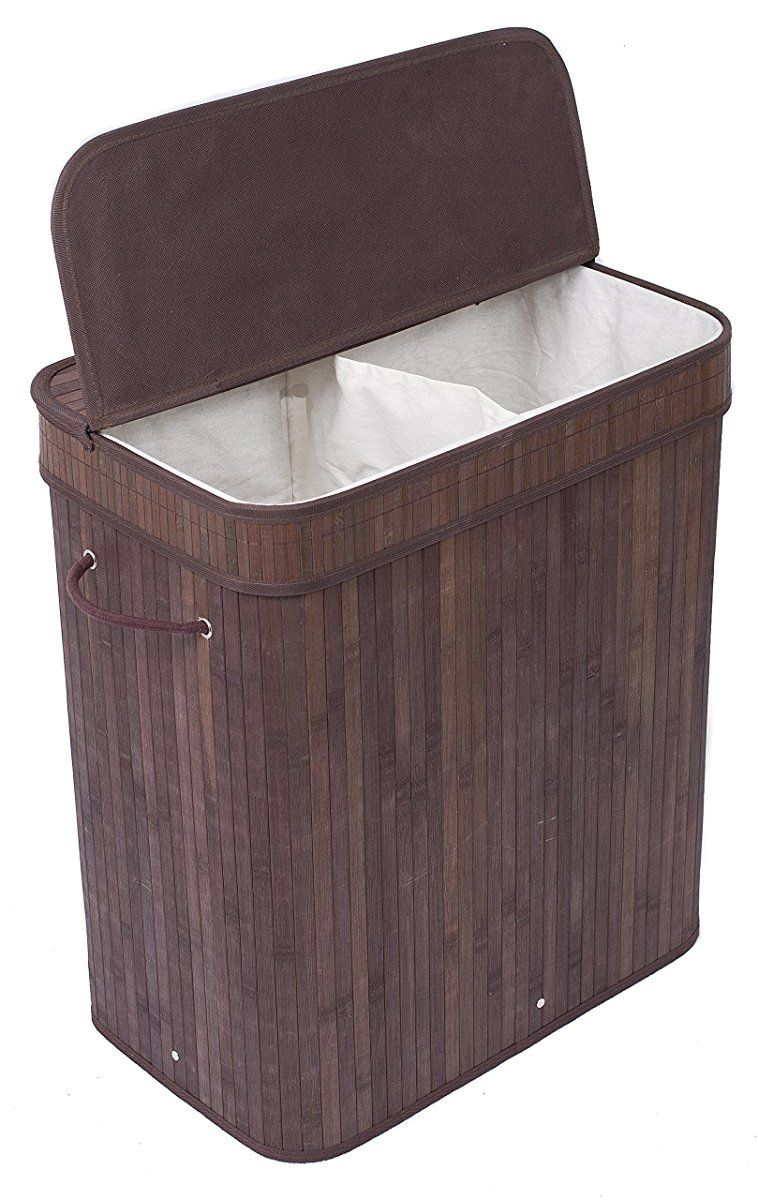 Birdrock Home Double Laundry Hamper With Lid And Cloth Liner With