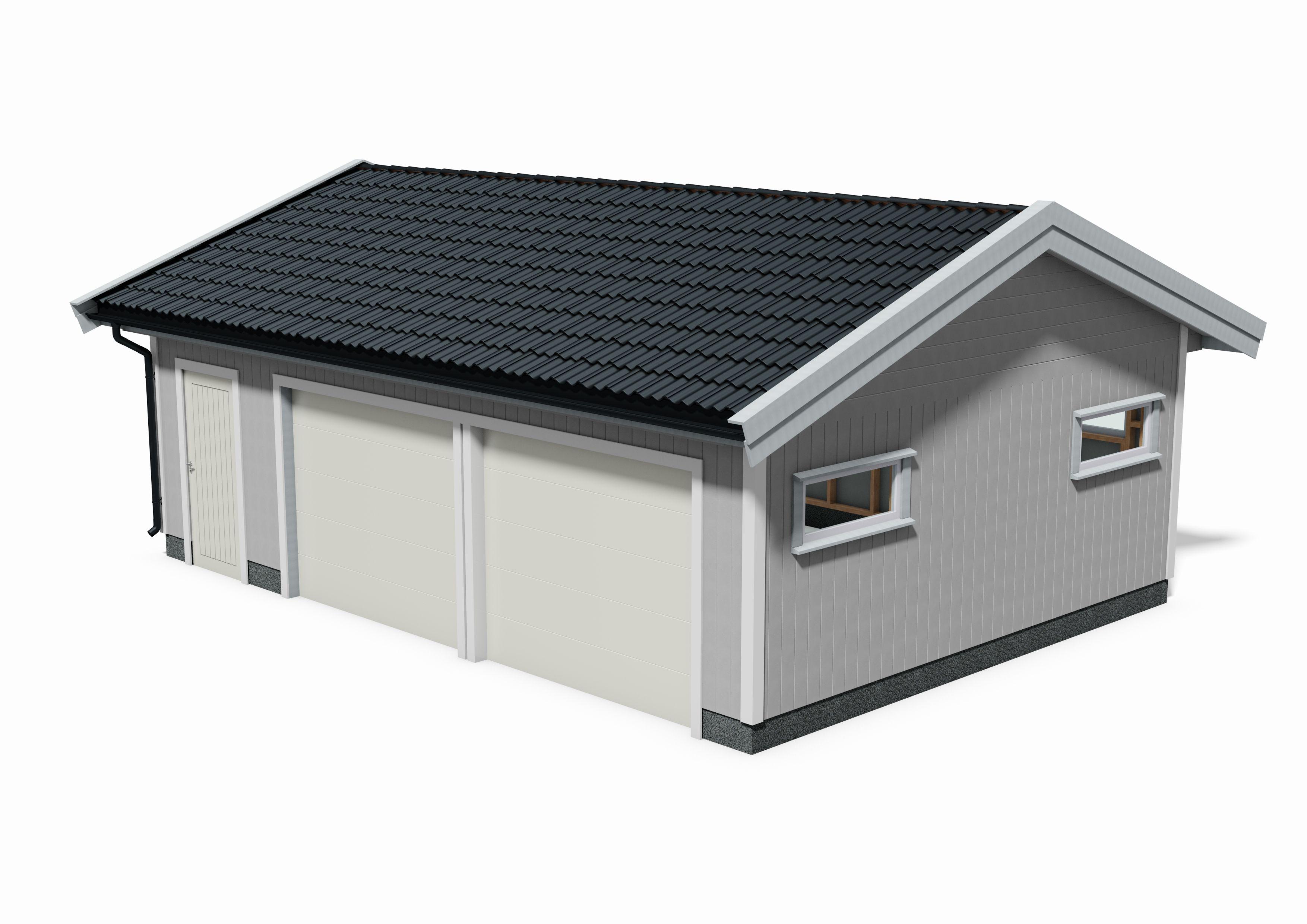 tegning dobbel garasje 8,2m x 5,8m med 2 porter og