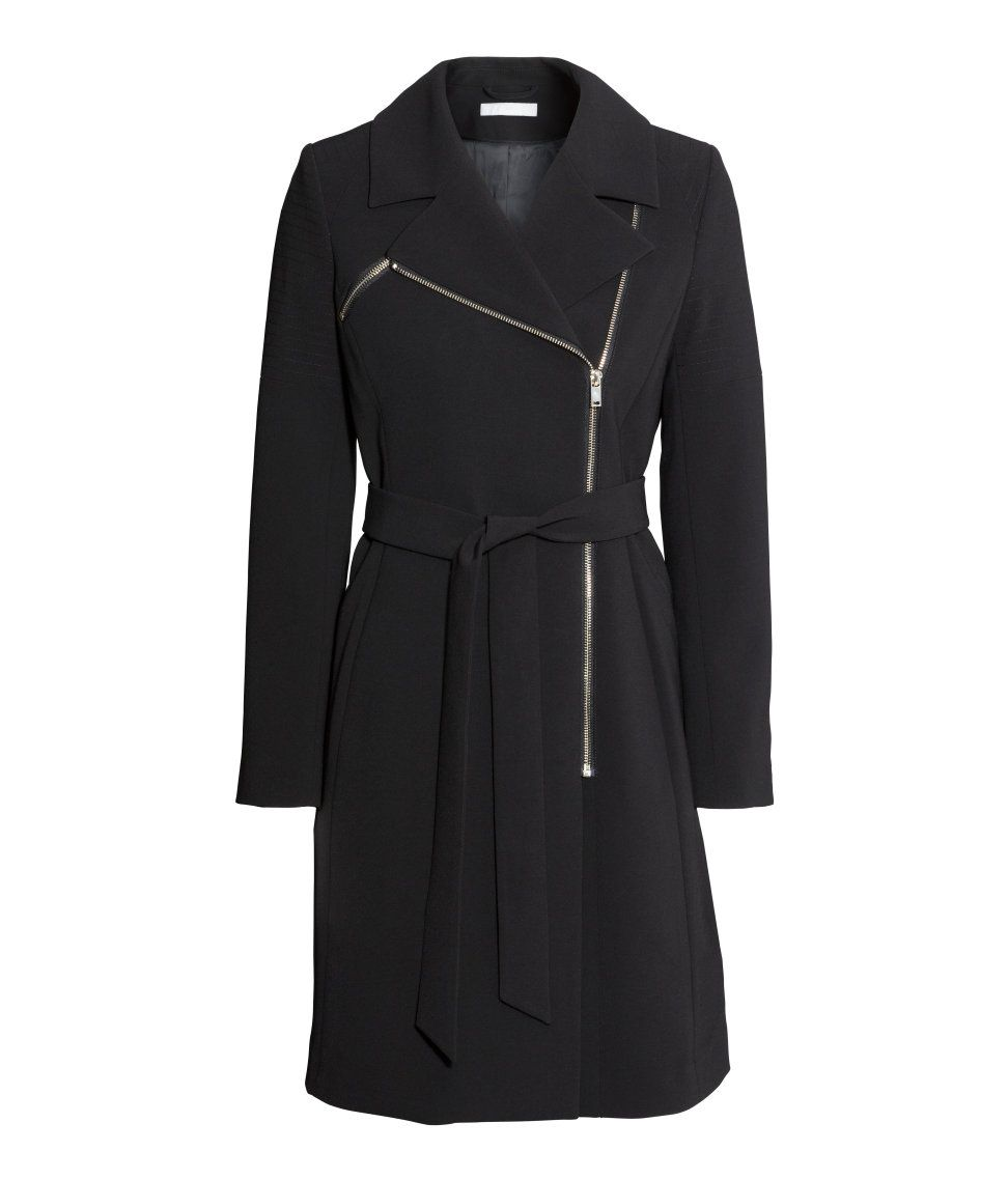 Fitted black coat with asymmetric zip, pockets, and tie belt ...