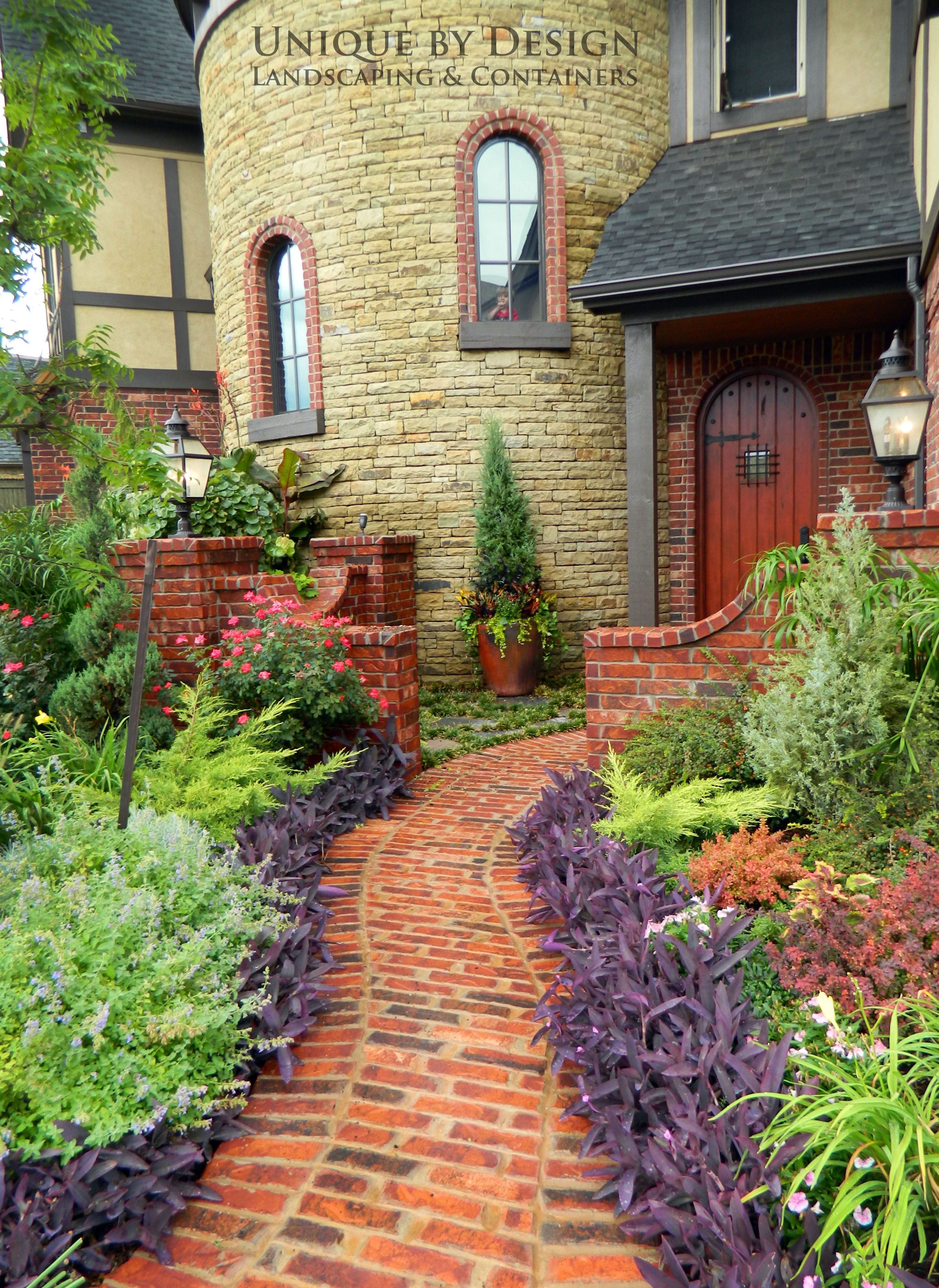 This Could Be Duplicated Even In The Harsh Hot Summer We Have In Texas Purple Heart Salvia Mexican Heather Stone Garden Paths Landscape Design Garden Paths