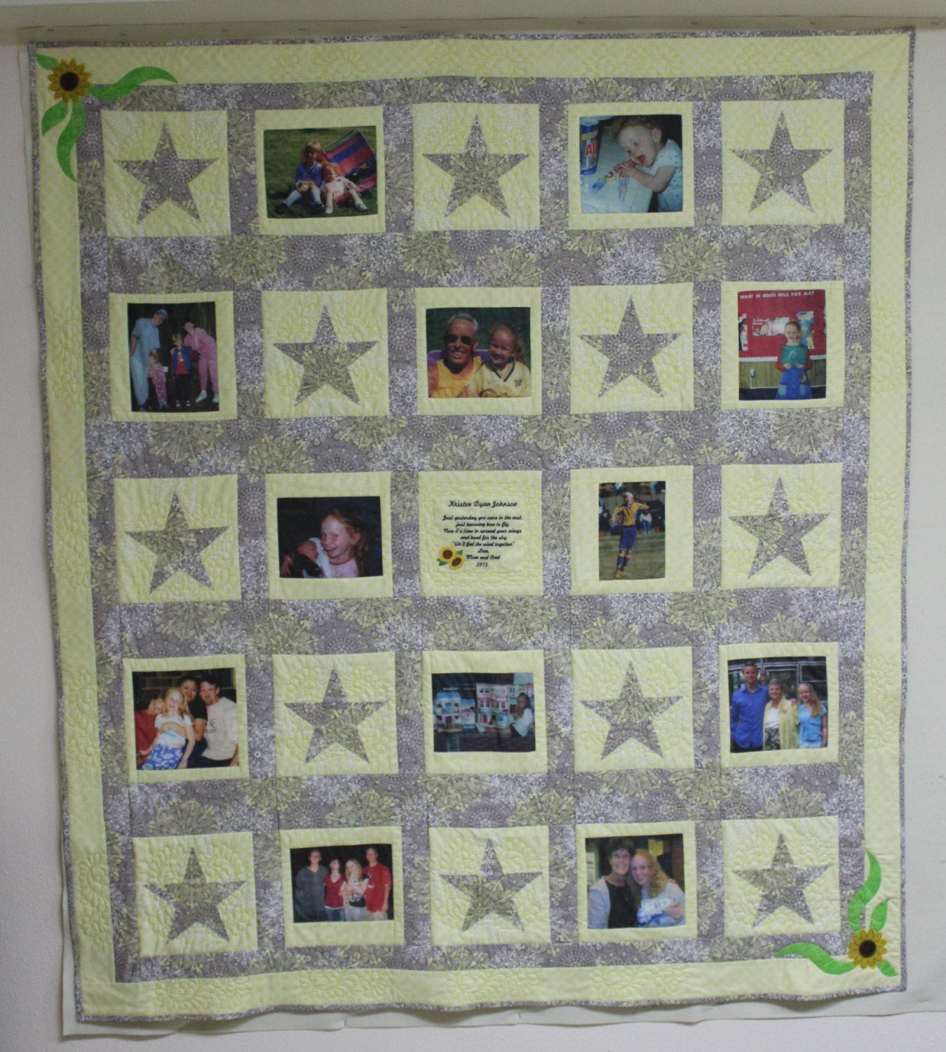 Custom Graduation Memory Quilt With 12 Pictures, lap quilt with custom embriodery by CannStitch on Etsy
