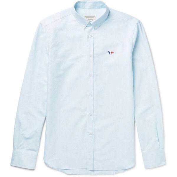Maison Kitsuné Slim-Fit Cotton Oxford Shirt ($250) ❤ liked on Polyvore featuring men's fashion, men's clothing, men's shirts, men's casual shirts, mens cotton shirts, mens embroidered shirts, mens slim shirts and colorful mens dress shirts