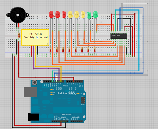 Arduino Ultrasonic Sensor With Leds And Buzzer Arduino Arduino Sensors Simple Arduino Projects
