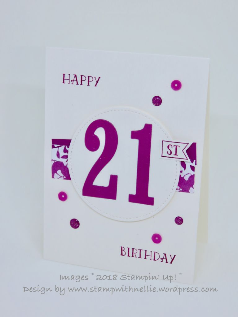Clean Simple 21st Birthday Card Stampinup Numberofyears Cascard