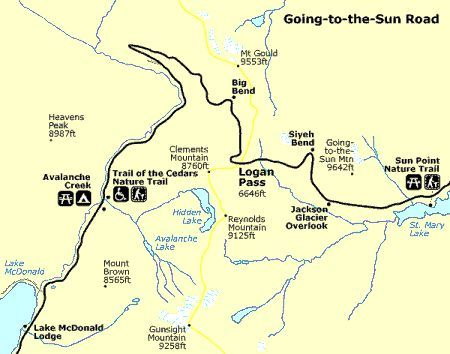 Map to the Sun Highway Going to Sun Road Map Travel The