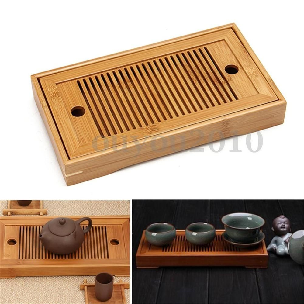 Portable Tasteful Bamboo Chinese Gongfu Tea Table Serving Tray For ...