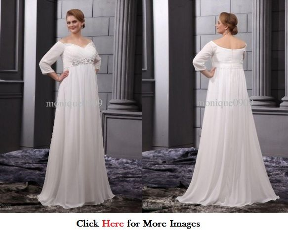 Wedding dresses with sleeves for plus size women long Chiffon ...