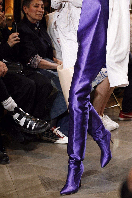 effd975c053 Women Pointed Toe Over Ladies Slip On High Heel Bright Orange Black Pink  Purple Satin Waist