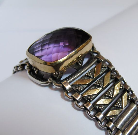 GBR 27 Silver and  22 Kt Gold Link Bracelet with by HatiKuJewelry