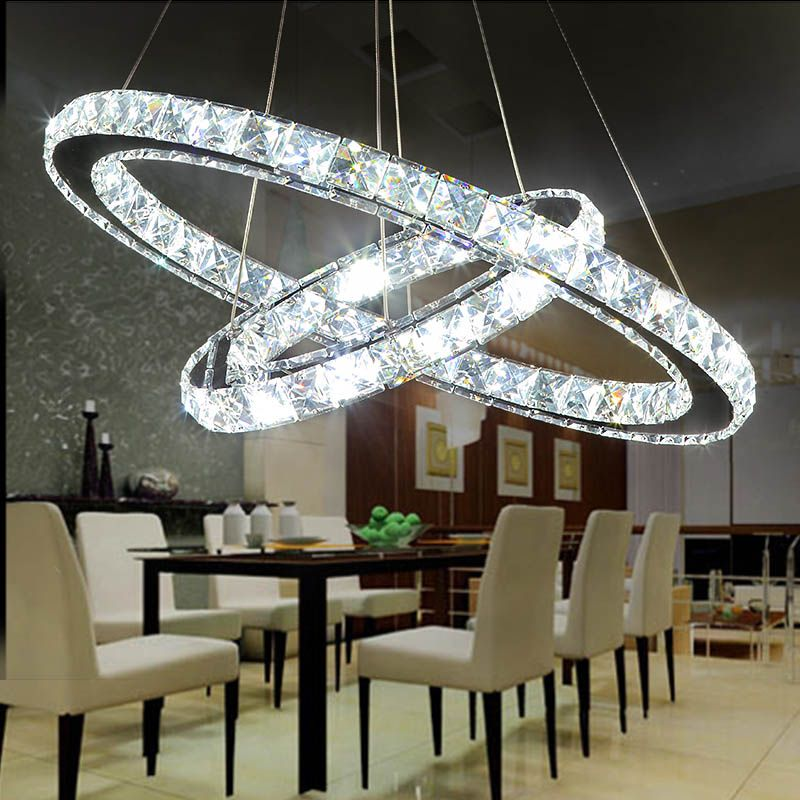Angel Halo Ring LED Chandelier Modern Minimalist Living Room Creative  Crystal Restaurant Lighting Home Decor