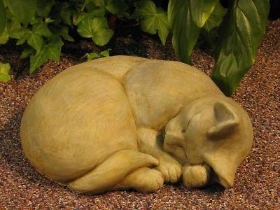 Sleeping Cat Statue 11 Cast Stone Outdoor Garden
