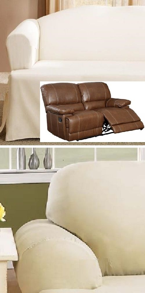 Dual Reclining Loveseat Slipcover T Cushion Off White Sure Fit