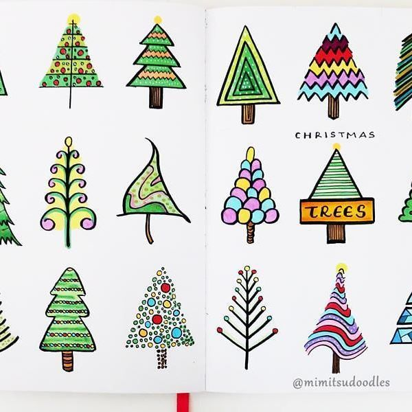 18 Ways To Draw A Christmas Tree Bulletjournal Planner Bujo Showmeyourplanne Bullet Journal Christmas Christmas Doodles Christmas Tree Drawing