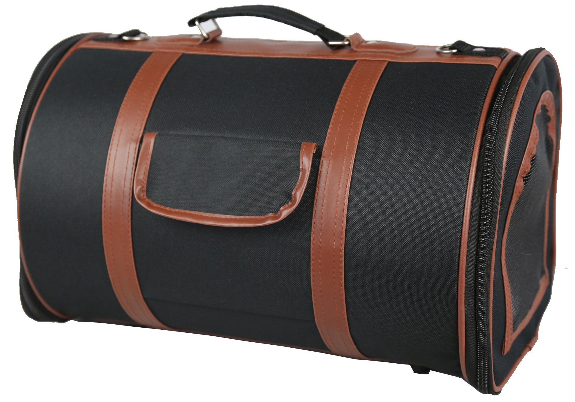 Pet Life Airline Approved Fashion 'Bark Avenue' Cylinder Posh Pet Carrier, Medium, Navy Blue and Brown