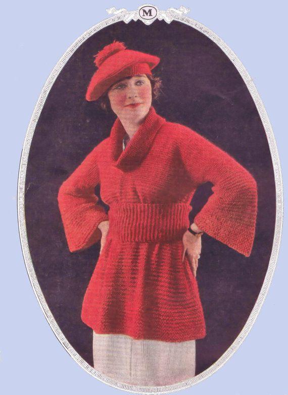 Vintage Knitting Pattern Komono Sweater Bust 34-36 Inches 1920s Digital PDF ePattern Download