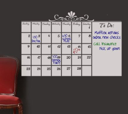 White Dry Erase Wall Calendar Wall Sticker by HouseHoldWords ...