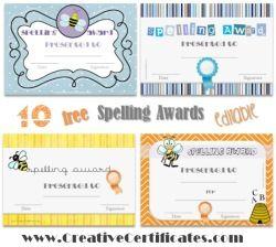 Free Spelling Certificates Back To School Bee Certificate