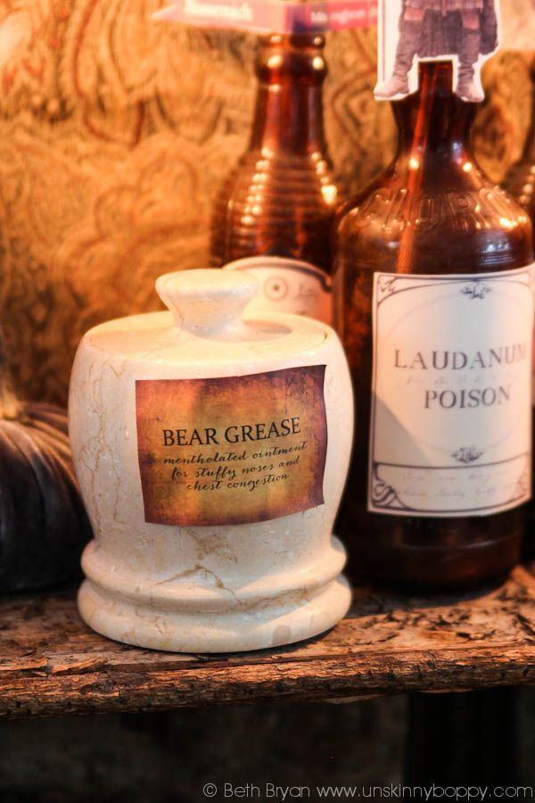 Make your own creepy labels for old bottles for Halloween party - halloween decorations to make on your own